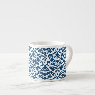 Blühen Sie Damast-großes Muster-DK-Blau auf Weiß Espressotasse