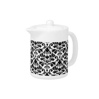 Blühen Sie Damast-großes Muster-Schwarzes auf Weiß