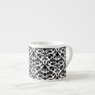 Blühen Sie Damast-großes Muster-Schwarzes auf Weiß Espressotasse