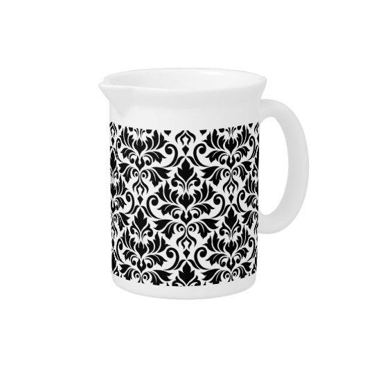 Blühen Sie Damast-großes Muster-Schwarzes auf Weiß Getränke Pitcher
