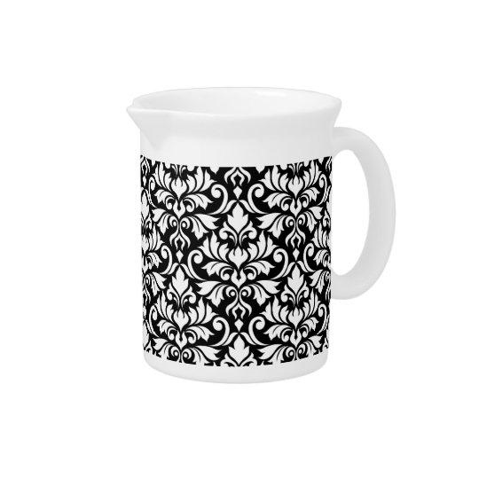 Blühen Sie Damast-großes Muster-Weiß auf Schwarzem Getränke Pitcher