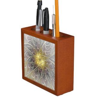 Blühen Sie mit Goldmoderner abstrakter Stifthalter