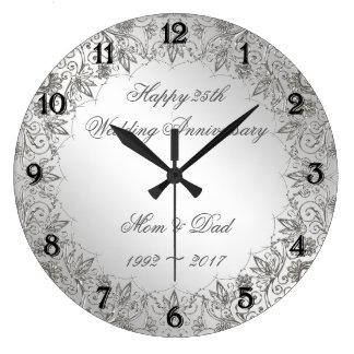 Blühen Sie Silber-25. Hochzeits-Jahrestags-Uhr Große Wanduhr