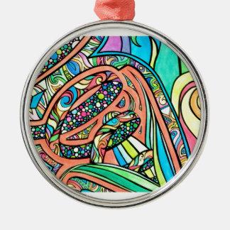Blühende Bänder Rundes Silberfarbenes Ornament