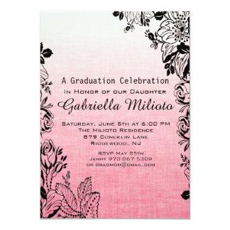 Blühende Blumen auf rosa Abschluss-Einladung 11,4 X 15,9 Cm Einladungskarte