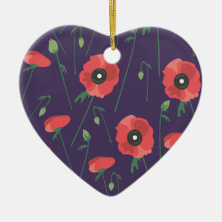Blühende Frühjahr-Mohnblume lila Keramik Herz-Ornament