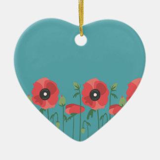 Blühende Frühjahr-Mohnblumen Keramik Ornament