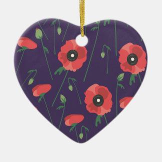 Blühende Frühjahr-Mohnblumen lila Keramik Herz-Ornament