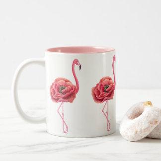 Blühendes rosa Flamingo-Geschenk Zweifarbige Tasse