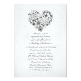 blüht Vintages Verlobungs-Party des Blumenherzens 12,7 X 17,8 Cm Einladungskarte