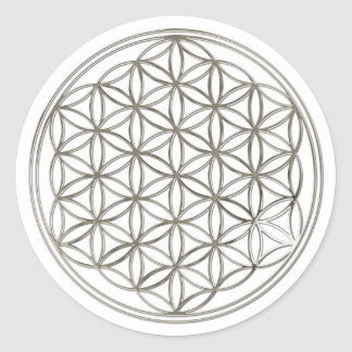 BLUME DES LEBENS - Silber Runde Sticker