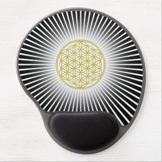 Blume von Leben-/Blume-DES Lebens - weiße Strahlen Gel Mousepad