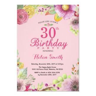 Blumen30. Geburtstags-Einladung für Frauen Karte