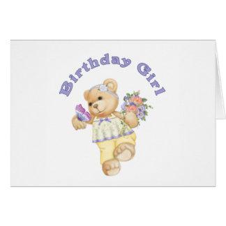 Blumen-Bärn-Geburtstags-Mädchen Grußkarten