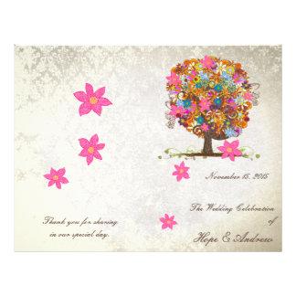 Blumen-Baum-Hochzeits-Programm Flyer