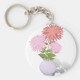 Blumen-Dahlien in einem Vase Schlüsselanhänger