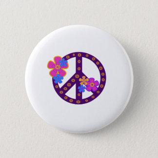 Blumen-Friedenssymbol Runder Button 5,7 Cm