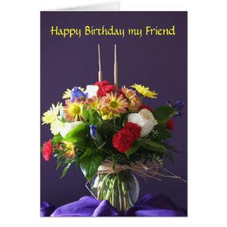 Blumen-Geburtstags-Karte für Freund Karte