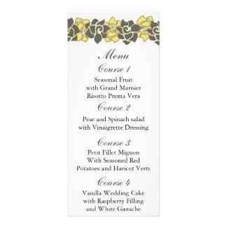 """Blumen""""gelbes graues"""" Hochzeitsmenü Werbekarte"""
