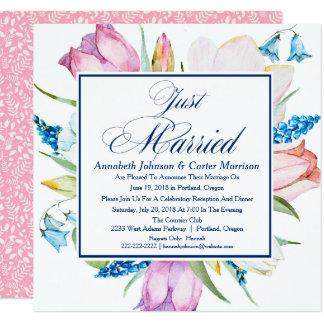 """Blumen""""gerade verheiratete"""" Hochzeits-Mitteilung Quadratische 13,3 Cm Einladungskarte"""