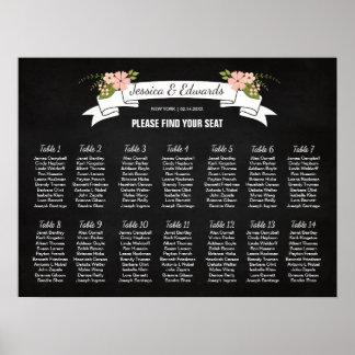 Blumen-Hochzeits-Sitzplatz-Diagramm, Poster