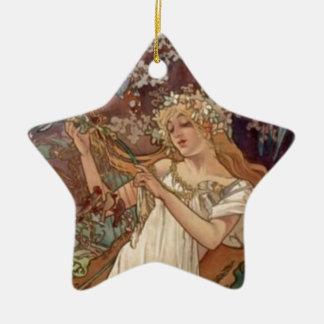 Blumen-Mädchen Keramik Stern-Ornament