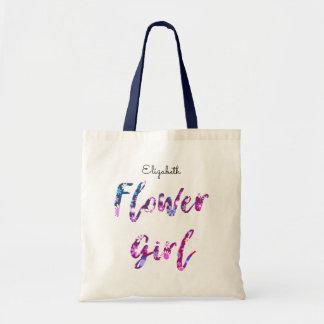 Blumen-Mädchen mit lila rosa Namensblau Budget Stoffbeutel