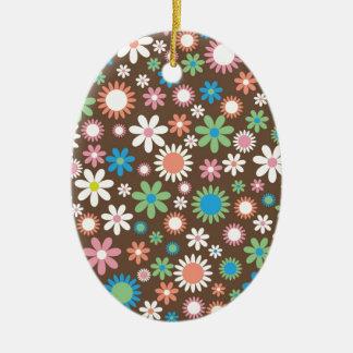 Blumen-Power-Druck - blaues Grün-Weiß-Blume Browns Ovales Keramik Ornament