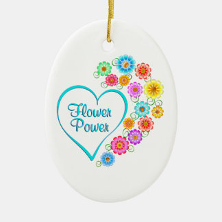 Blumen-Power-Herz Keramik Ornament