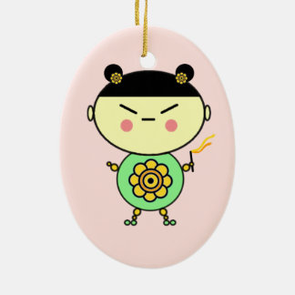 Blumen-Power-Mädchen Ovales Keramik Ornament