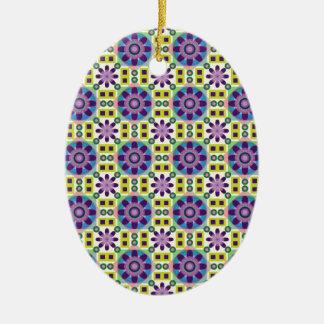 Blumen-Power-Muster Ovales Keramik Ornament