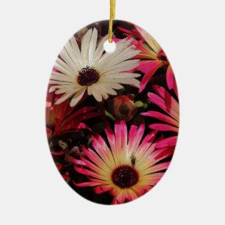 Blumen-Power Ovales Keramik Ornament