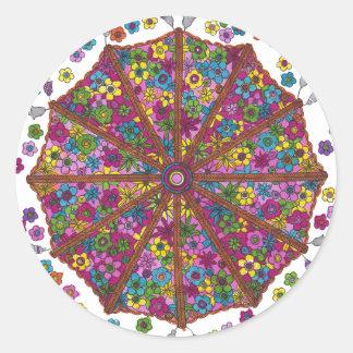 Blumen-Sonnenschirm-Aufkleber Runder Aufkleber