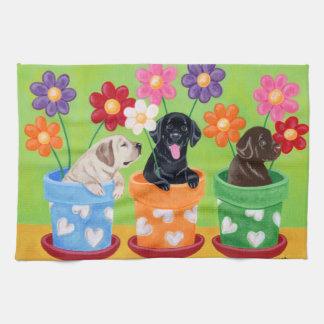 Blumen-Topf-Labrador-Welpen-Malen Handtücher