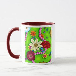 Blumen u. Perlen Tasse