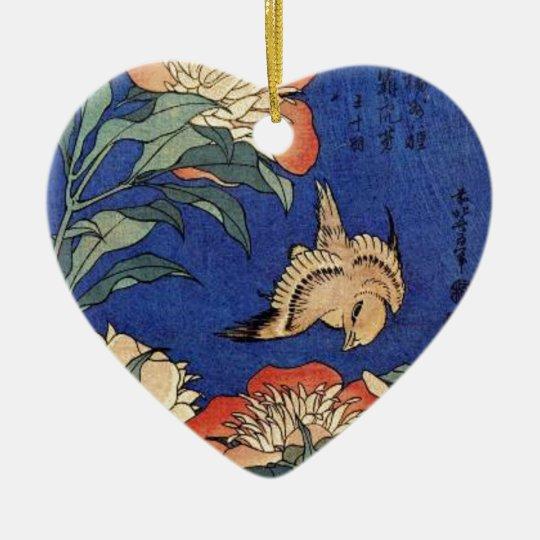 Blumen und ein Vogel Keramik Herz-Ornament