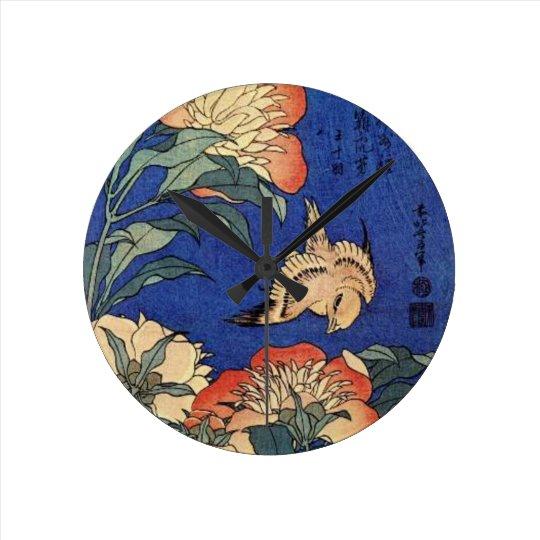 Blumen und ein Vogel Runde Wanduhr