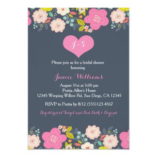 Blumen- und Herz-Brautpartyeinladung 12,7 X 17,8 Cm Einladungskarte