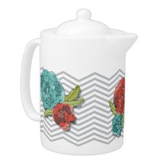 Blumen- und Zickzack Muster-Teekanne