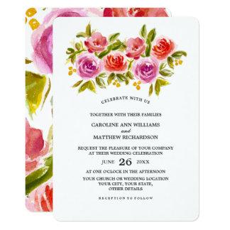 BlumenAquarell-Malerei-Hochzeits-Einladungen 12,7 X 17,8 Cm Einladungskarte