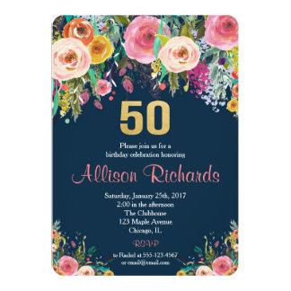 BlumenAquarellmarine der 50. Geburtstagseinladung Karte