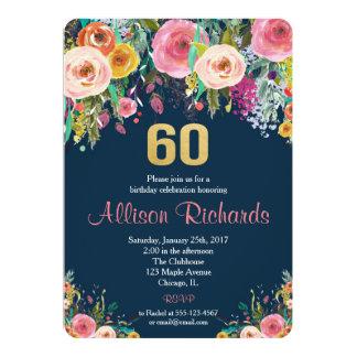 BlumenAquarellmarine der 60. Geburtstagseinladung Karte