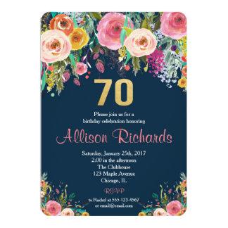 BlumenAquarellmarine der 70. Geburtstagseinladung Karte