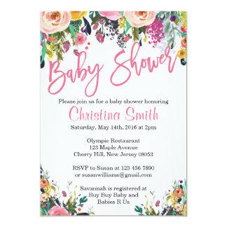 BlumenBabyparty-Einladungen - Frühlings-Aquarell 12,7 X 17,8 Cm Einladungskarte