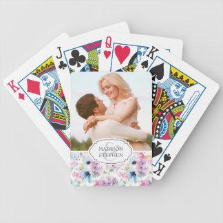 BlumenblumenstraußWatercolor - Hochzeits-Foto Pokerkarten