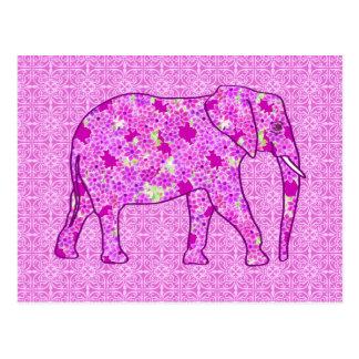 Blumenelefant - Orchidee und Magenta Postkarte
