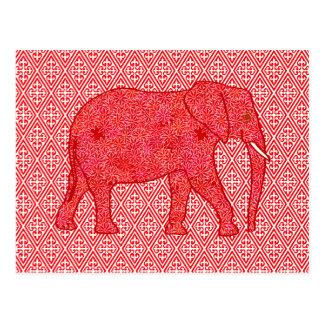 Blumenelefant - tiefrot und korallenrot postkarte