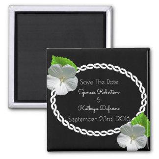 """Blumeneleganz """"Save the Date"""" Hochzeit Quadratischer Magnet"""