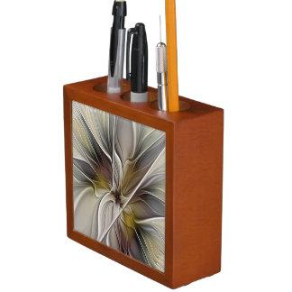 BlumenFraktal, Fantasie-Blume mit Erdfarben Stifthalter