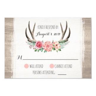 Blumengeweih-rustikale Hochzeit personalisiertes Karte